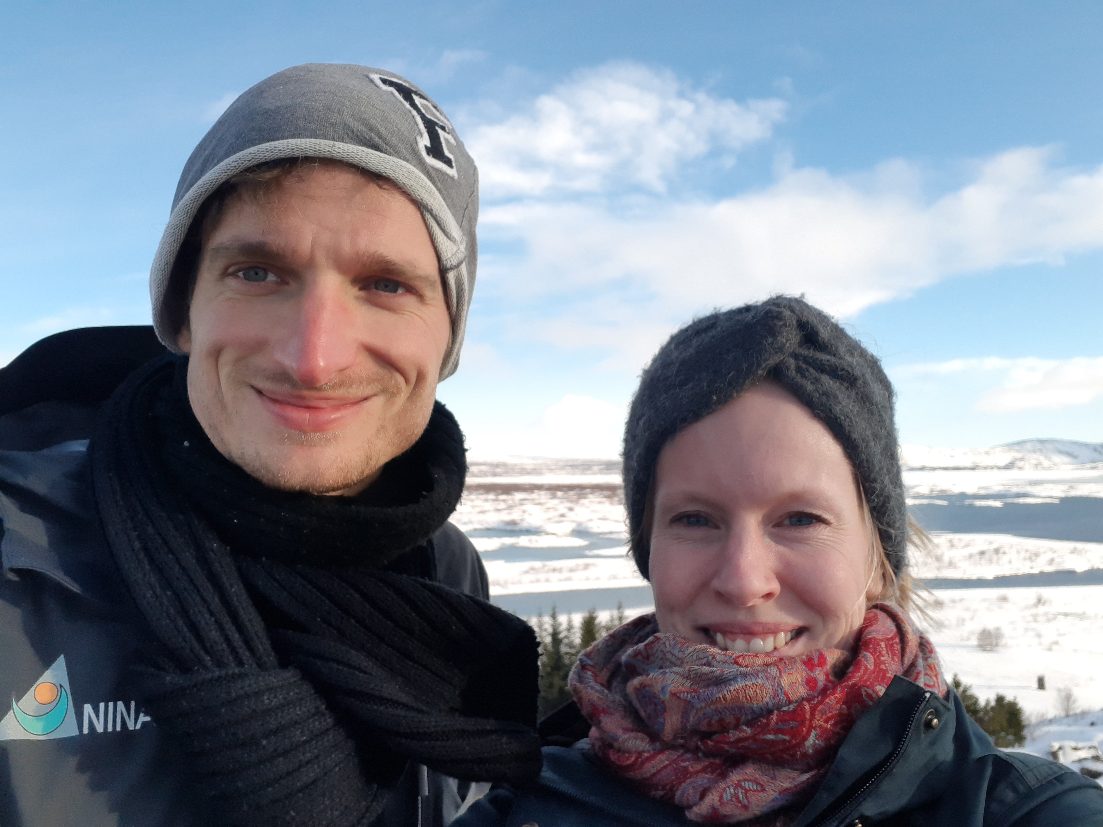 Astrid Raunsgard and Yann Czorlich, NINA, at Lake þingvallavatn, the largest natural lake in Iceland.